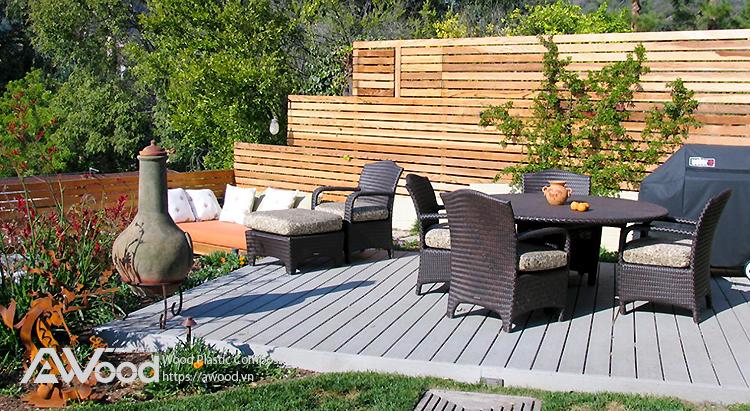 Sân vườn đẹp lạ với gỗ nhựa AWood trang trí