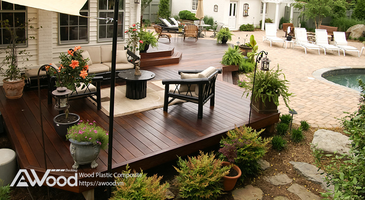 Sân vườn xanh mát với vật liệu gỗ nhựa ngoài trời AWood