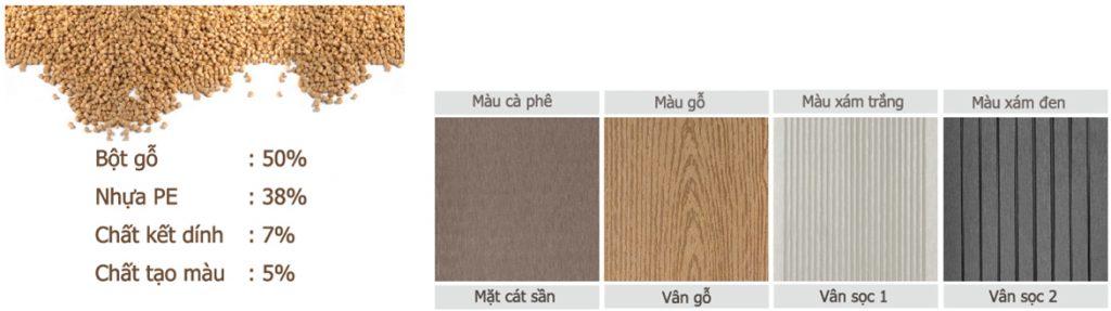 Màu sắc gỗ nhựa