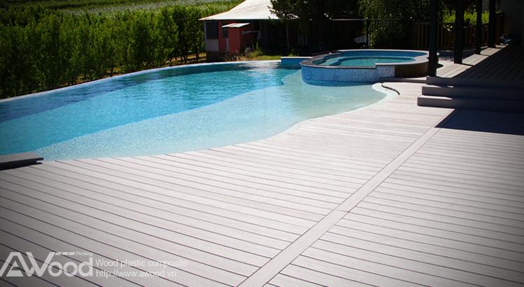 Sàn gỗ hồ bơi ngoài trời