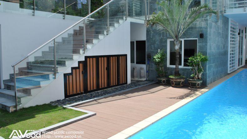 Gỗ nhựa ngoài trời AWood lót sàn trang trí hồ bơi – sân vườn