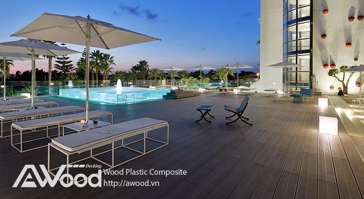 Lót sàn sân Thượng, sân vườn bằng gỗ nhựa Awood