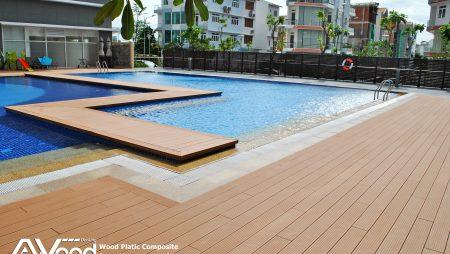 Ứng dụng của sàn gỗ ngoài trời với hồ bơi- sân vườn