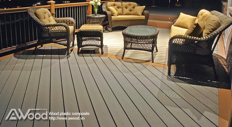 Sàn gỗ ngoài trời AWood tone màu xám đậm
