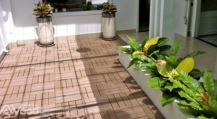 Vỉ gỗ nhựa lót sàn sân vườn